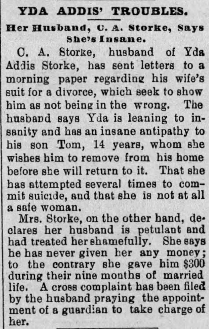 Yda Storke responds The_Evening_Express_Mon__Aug_10__1891_