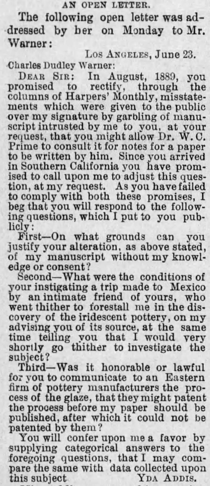 Yda Warner dispute letter detail The_Evening_Express_Tue__Jun_24__1890_
