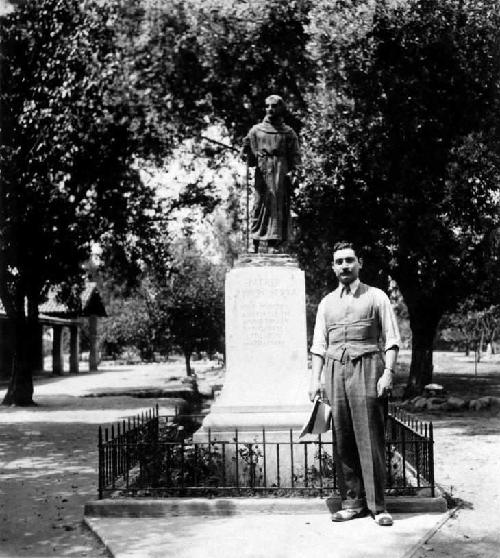 Thomas W Temple II Next To Serra Statue Mission San Gabriel 96.7