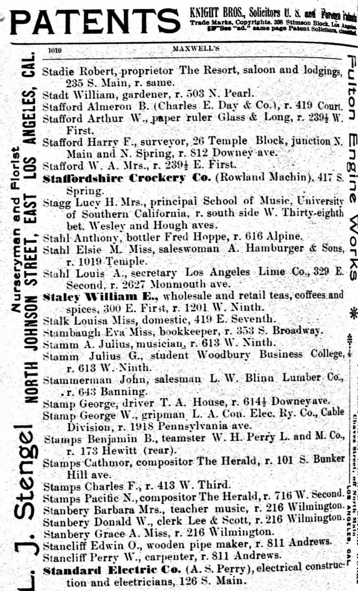 Stafford LA directory 1894