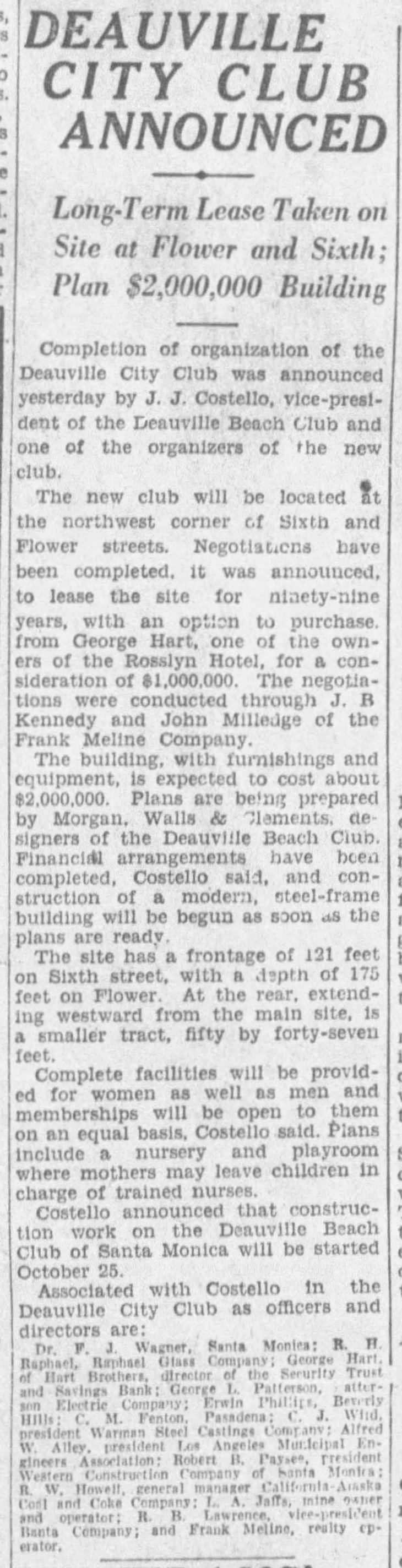 Deauville City Club announced The_Los_Angeles_Times_Fri__Sep_24__1926_