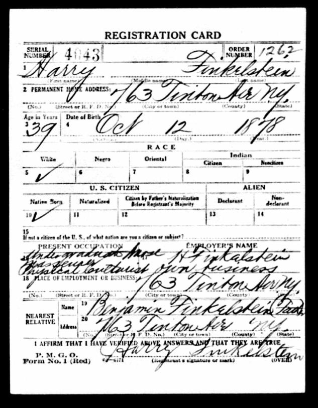 Finkel WW1 draft card