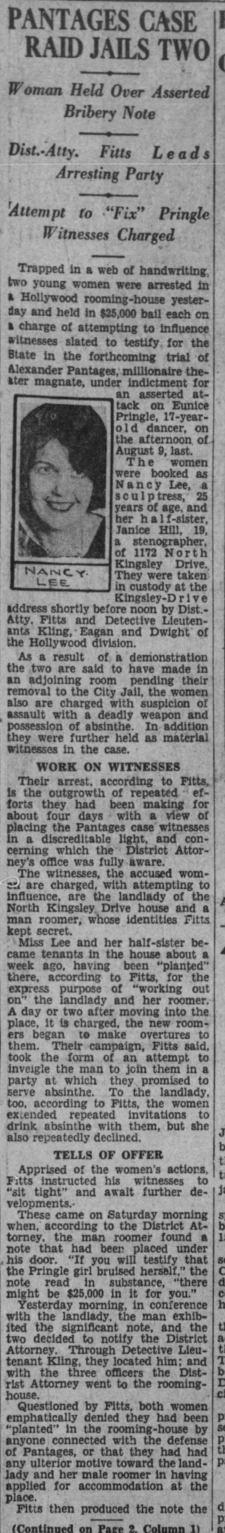 Nancy Lee Janice Hill arrest The_Los_Angeles_Times_Mon__Sep_9__1929_