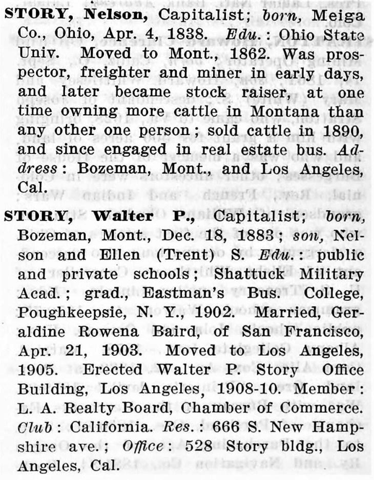 Story entries Who's Who Pac Coast 1913