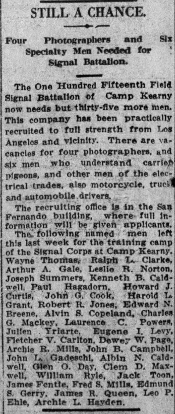 AA Gale Signal Corps The_Los_Angeles_Times_Sun__Nov_18__1917_