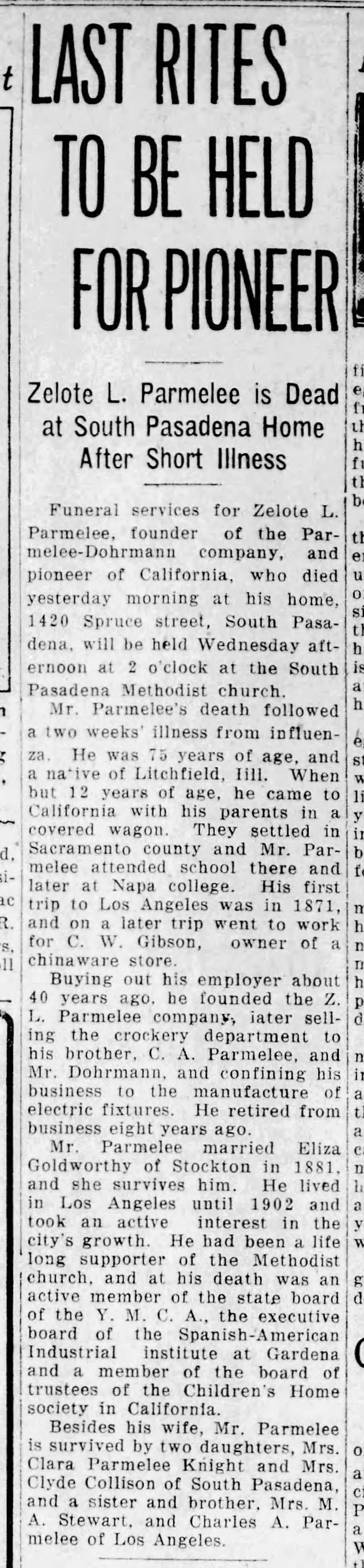 Parmelee obit Pasadena_Evening_Post_Mon__Feb_15__1926_