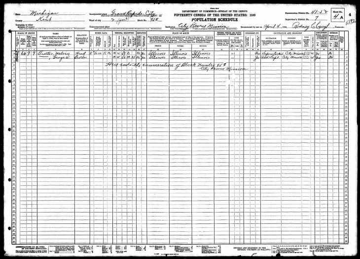 Trotter rescue mission 1930 census Grand Rapids MI