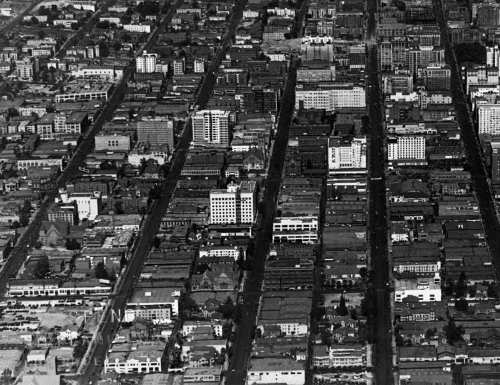 An Aerial Photograph of Downtown Los Angeles and Surrounding Are