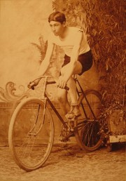 Frank Cooper on a safety bicycle, 1890s.
