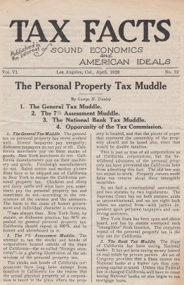 "Page one of ""Tax Facts,"" April 1928."