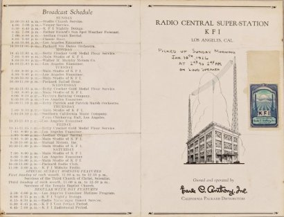 KFI Broadcast Schedule Brochure- This 1926 brochure for radio station KFI shows the broadcast towers on the right, and the weekly radio schedule on the left.