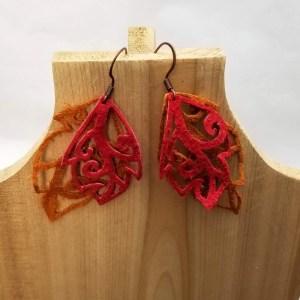 Suede Leaf Earrings - Red and Orange