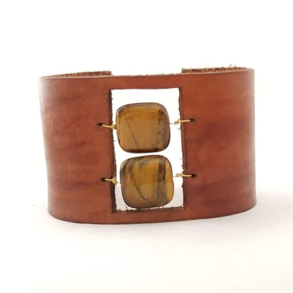 Leather and Tigers Eye Bracelet
