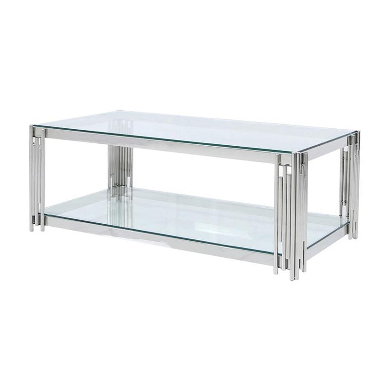 cochran glass coffee table chrome