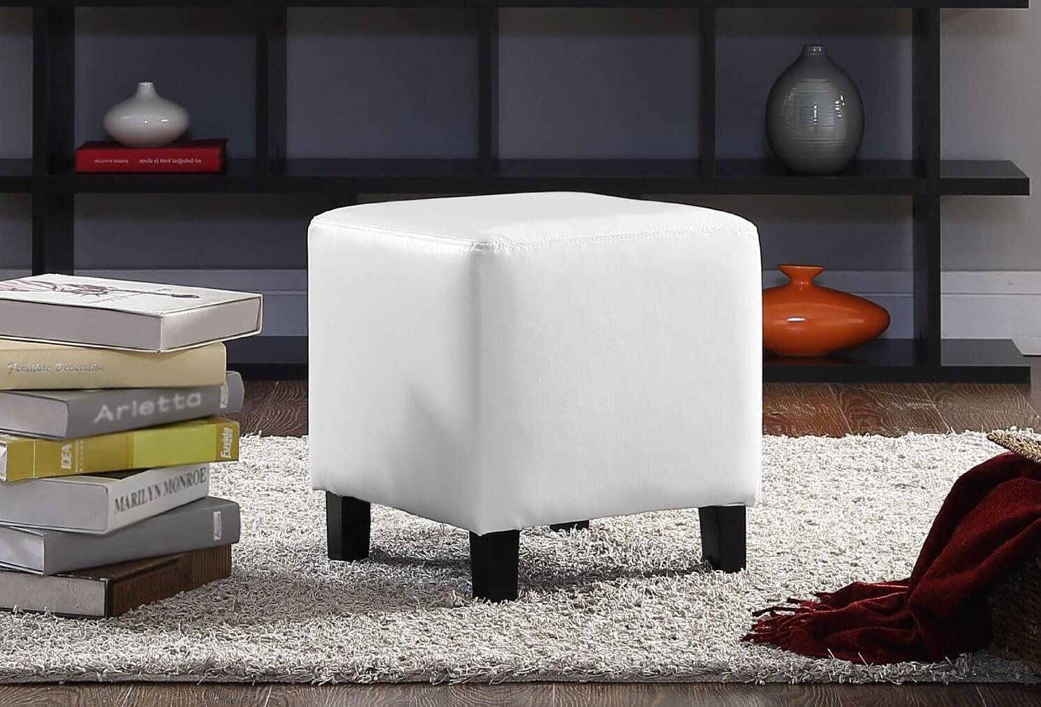 25 white leather ottomans square