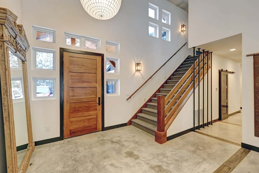 50 Contemporary Foyer Ideas Photos | Staircase Side Window Designs | Window Furniture | Two Story | Angled Staircase | Bedroom | Corner