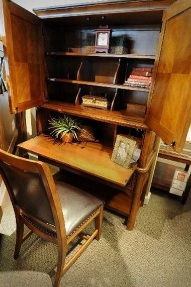 Wood Bookcase With Folding Desk Home Trendy