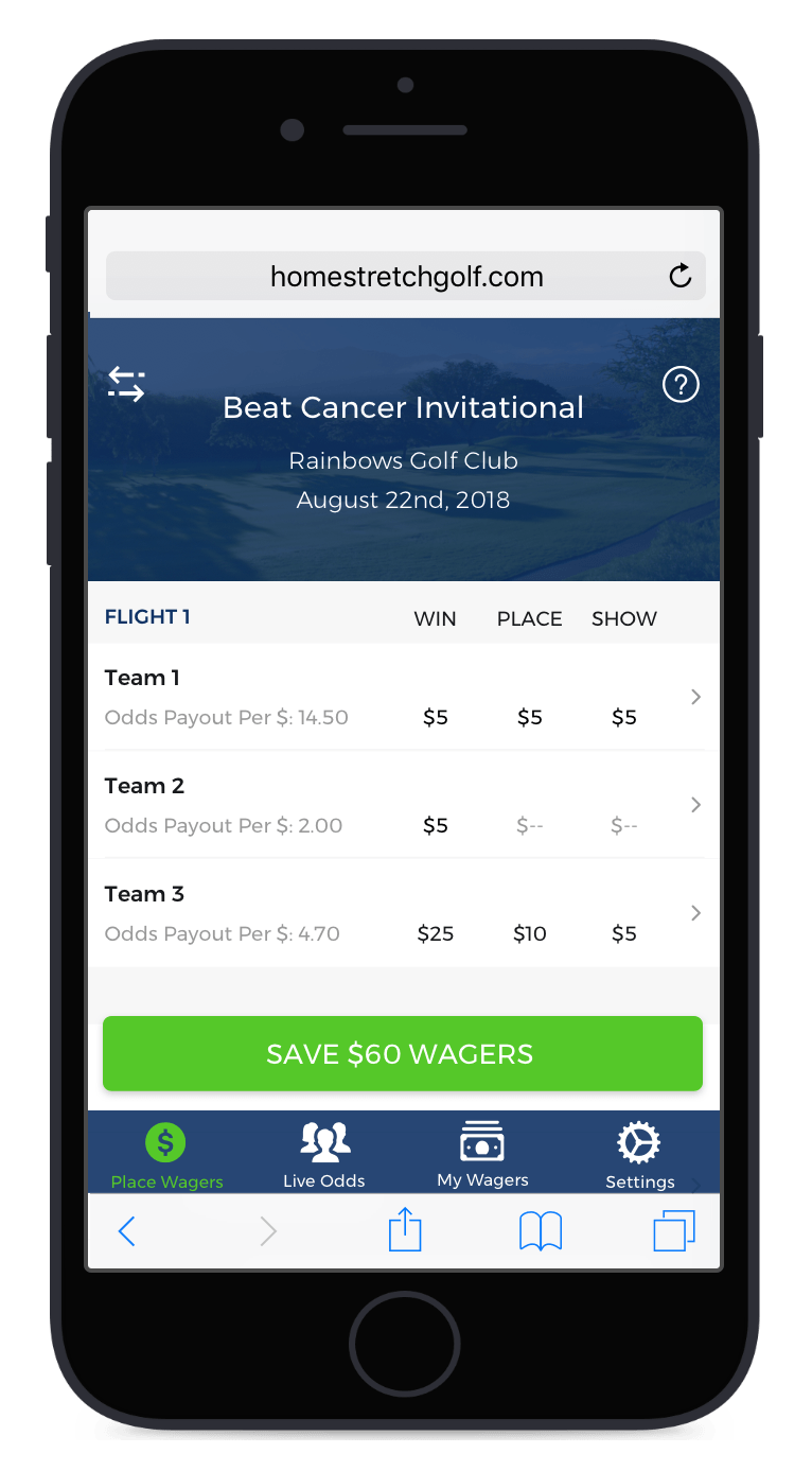 Paperless pre-round pari-mutuels and wagering software for club golfers, built by a PGA Professional.