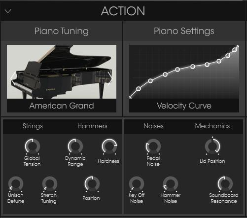 Arturia Piano V review piano settings and piano tuning settings image