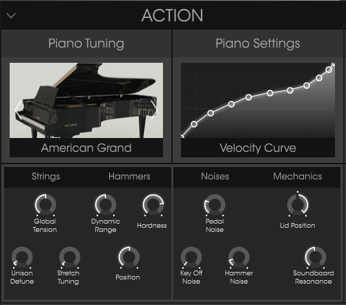 Arturia Piano V review piano settings and piano tuning settings image