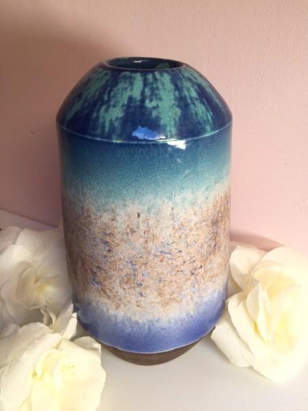 Alinéa, vase émaillé bleu