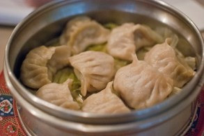 Big Pot of Steamed momo's.