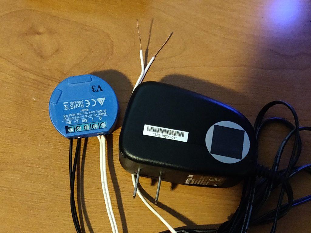Shelly 1 Relay connected to doorbell wire and 12V DC adapter. The beginnings of your smart garage door opener
