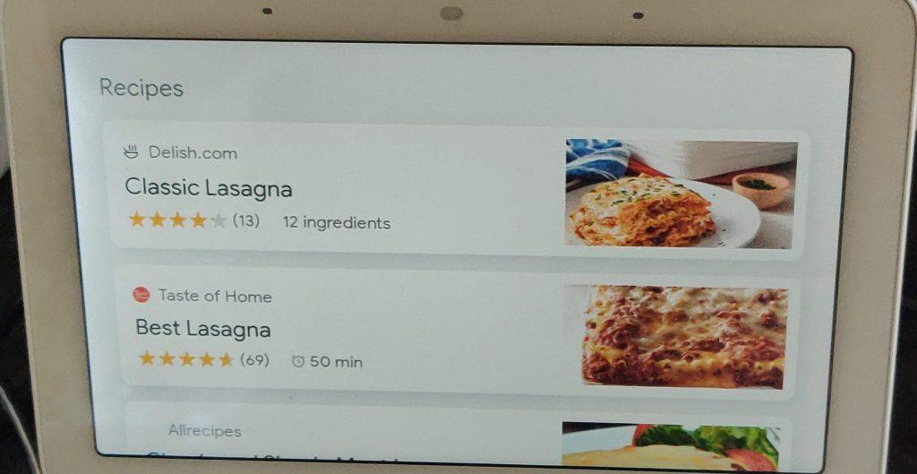 Lasagna display