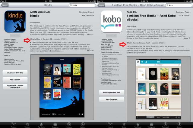 Kobo, Kindle remove e-book stores from iOS apps