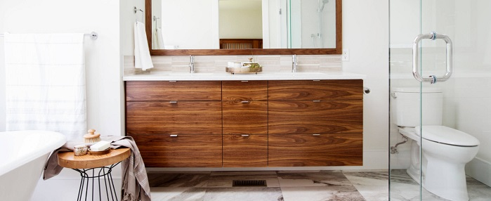 Warm Up A White Bathroom With A Natural Wood Bathroom Vanity