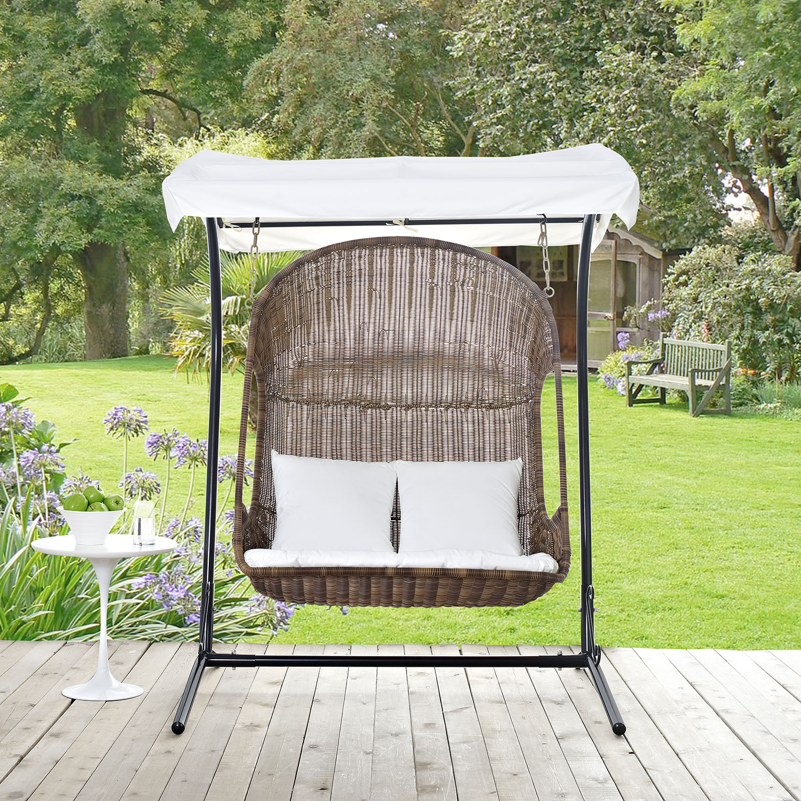 Swing Chair Stand Vantage Outdoor Patio Swing Chair With Stand Brown White