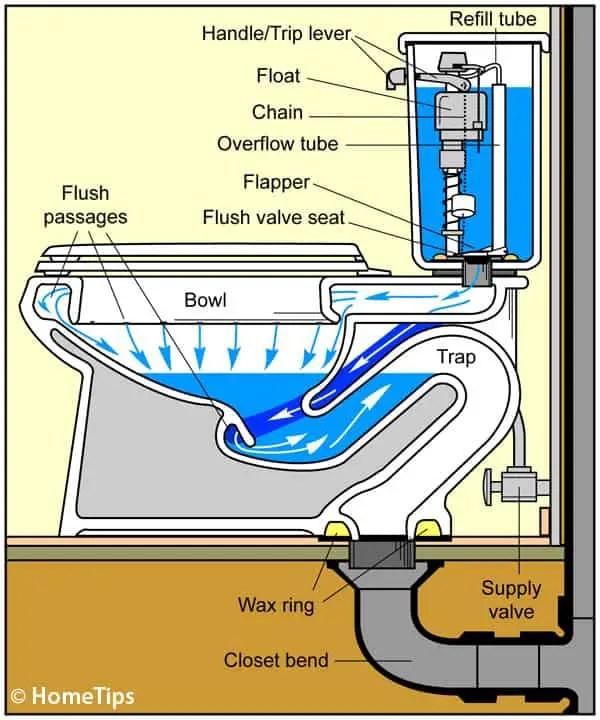 Toilet Tank Parts Diagram : toilet, parts, diagram, Toilet, Works, Plumbing, Diagrams, HomeTips