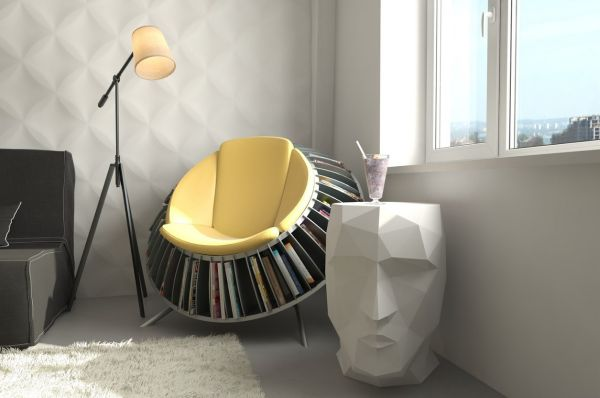 interior-contempo-and-unique-reading-chair-with-built-in-circular-book-rack-and-artistic-white-face-sculpture-marvelous-and-stylish-reading-space-decoration-ideas