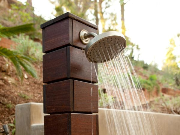 Set up outdoor showers