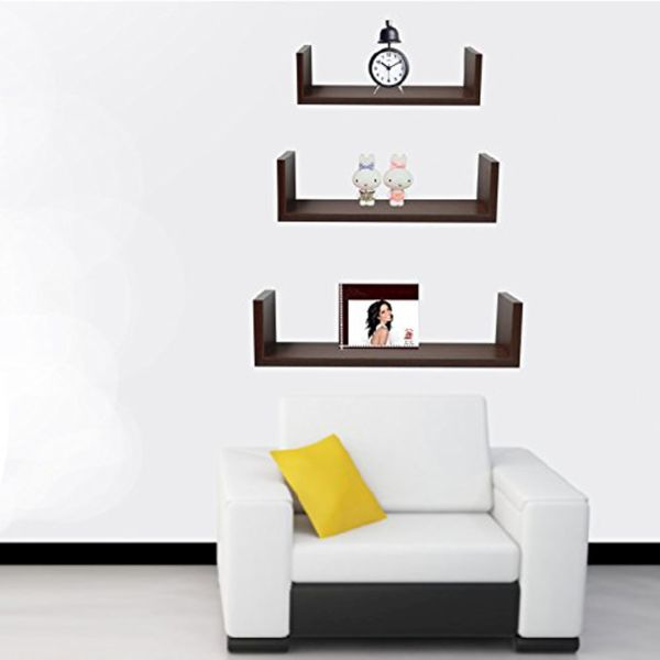 Tray shaped floating shelves