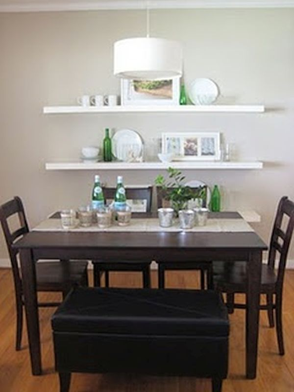 White floating shelves in dining area