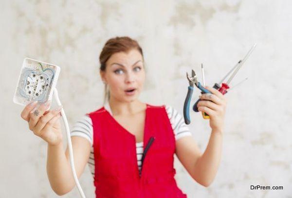 Woman wondering electric wiring