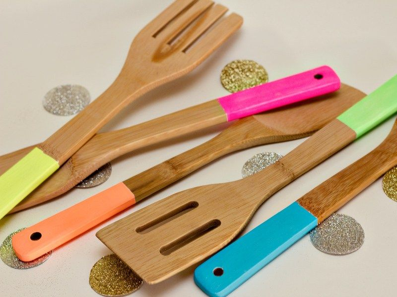 neon colored wooden utensils