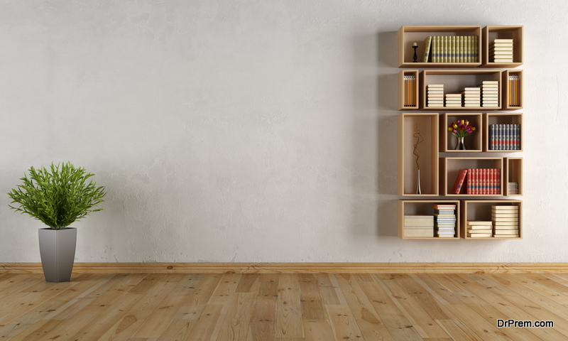 Use wall-mounted bookshelves