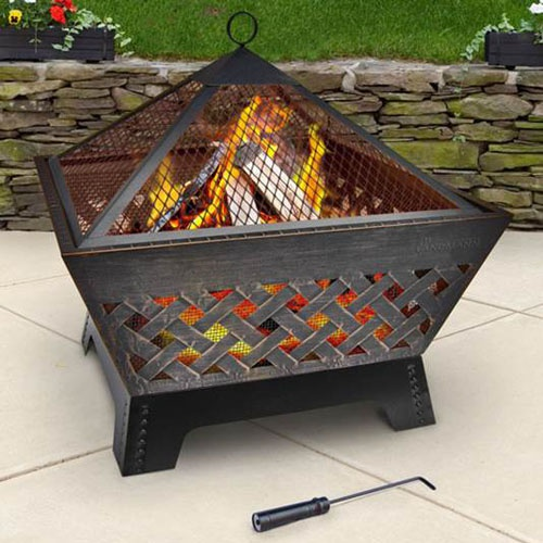 Barrone Fire Pit Antiqued Bronze with Cover