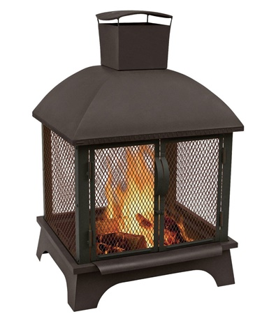 Redford Outdoor Steel Fireplace Black