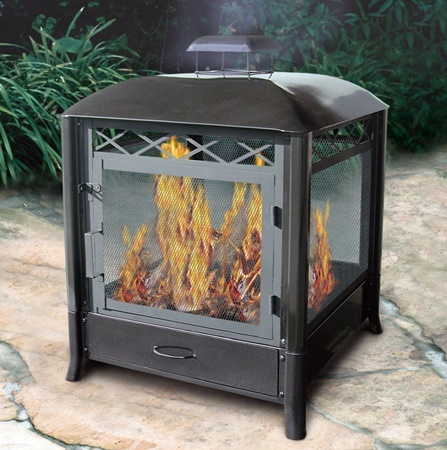 Aspen Outdoor Fireplace Black Finish
