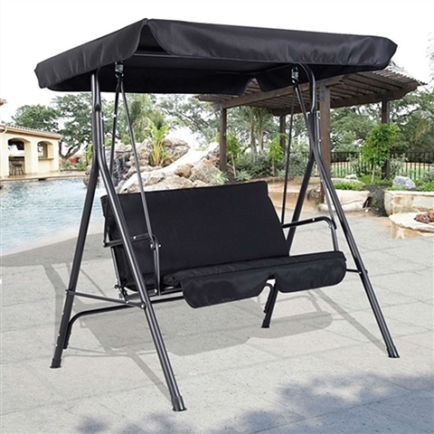 Outdoor Patio Loveseat Canopy Swing Black & Outdoor Patio Loveseat Canopy Swing Black - HometoOutdoors