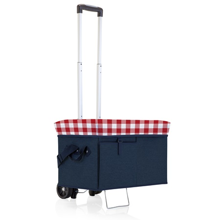 Ottoman Padded Seat Lid 24 Can Cooler Tote with Trolley