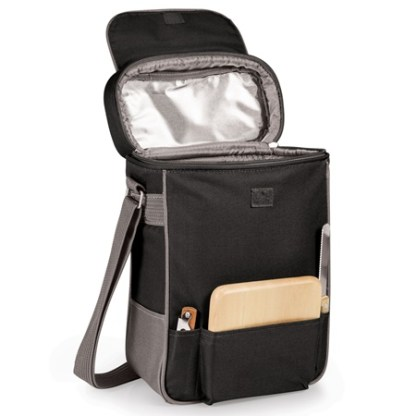Duet Two Bottle Wine Cheese Tote Black