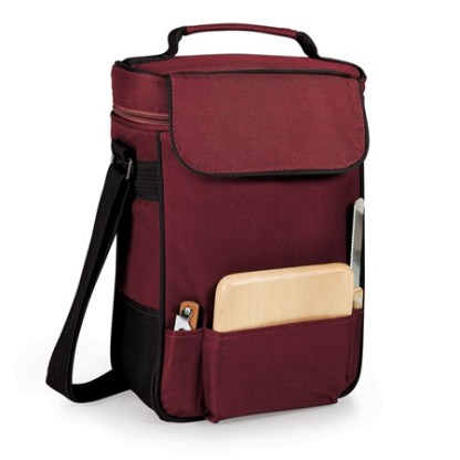 Duet Two Bottle Wine Cheese Tote Burgundy