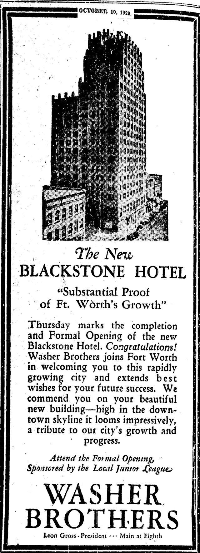 Black and Blue: Blackstone Hotel Began as the Bluebonnet