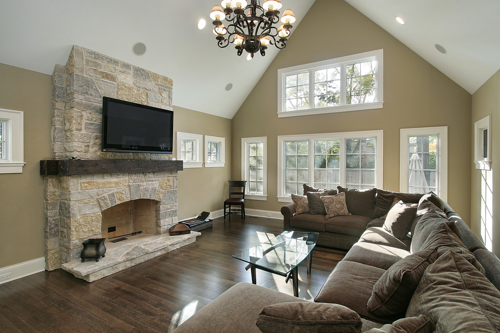 The triangular wall is the perfect representation of this Georgian Style Family Room