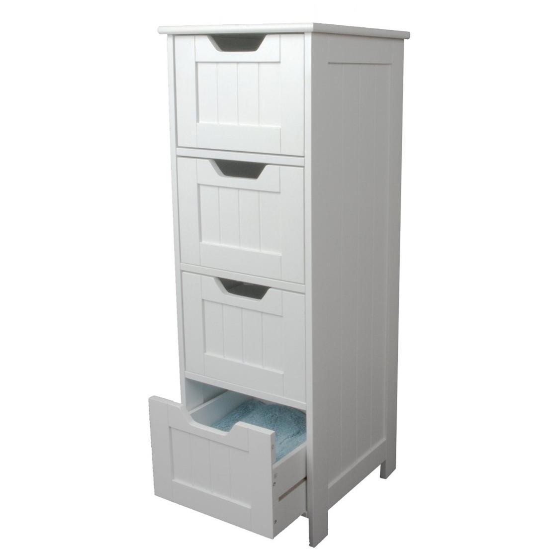 White Storage Cabinet 4 Large Drawers  Home Treats UK