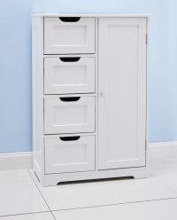 White Bathroom Floor Cabinet. Freestanding With 4 Drawers